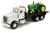 Tomy ERTL Big Farm Peterbilt Model 367 Dealership Delivery Truck with Roll Off and 4020 Tractor 1:16