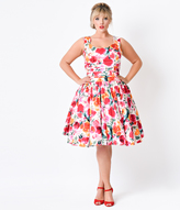 Unique Vintage Plus Size Pink Watercolor Floral Roman Holiday Retro Flare Dress
