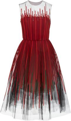 Oscar de la Renta Embroidered Tulle Cocktail Dress