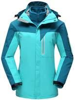 Buckdirect Worldwide Ltd. Plus Size Thick Color Block Two-Piece Hood Ski Jacket