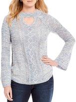 One World Apparel Choker V-Neck Sweater