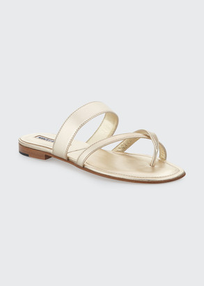 Manolo Blahnik Susa Crisscross Leather Flat Sandals