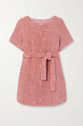 LUCY FOLK Belted Cotton-terry Mini Dress - Antique rose
