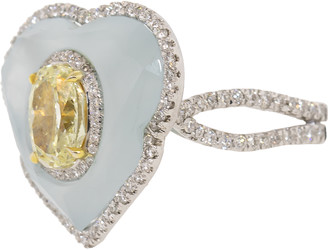 Saboo Fine Jewels Yellow and White Diamond Aquamarine Ring