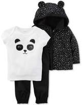 Carter's 3-Pc. Babysoft Cotton Hoodie, Panda T-Shirt & Pants Set, Baby Girls