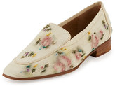 The Row Adam Floral-Embroidered Raffia Loafer, Natural Paint