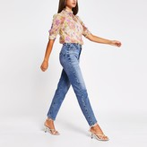 River Island Womens Purple floral embellished high neck top