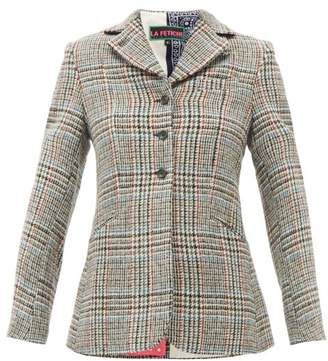 La Fetiche - Bianca Houndstooth Wool-tweed Blazer - Womens - Grey Multi