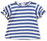 Blu Pepper Big Girls 7-16 Striped Ruffle-Sleeve Top