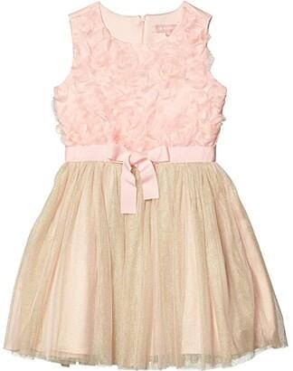 BCBG Girls Floral Petal Bodice Dress w/ Mesh (Big Kids) (Rose Petal) Girl's Clothing