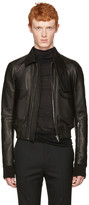 Rick Owens Black Leather Glitter Jacket