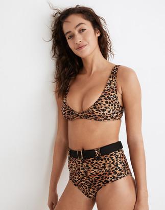 Madewell Solid & Striped Annie Bikini Top in Leopard Print