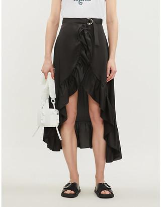 Sandro Ruffled asymmetric woven skirt