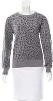 Current/Elliott Leopard Patterned Crew Neck Sweatshirt