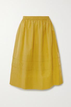 Atlantique Ascoli Minor Tiered Cotton And Linen-blend Midi Skirt - Mustard
