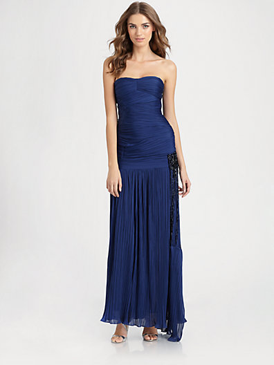 Halston Strapless Beaded Gown
