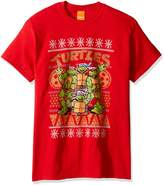 Nickelodeon Men's Tmnt Pizza Snowflake Ugly Christmas T-Shirt