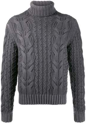 Cruciani roll neck cable knit sweater