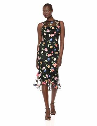 Calvin Klein Women's Sleeveless Lace Sheath with Flounce Hem Dress