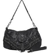 MG Collection Parkin Skull Studded Fringe Beads Purse
