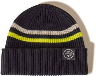 Mulberry Beanie Neon Stripe Black and Yellow Wool