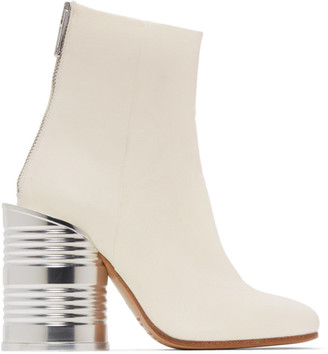 MM6 MAISON MARGIELA White Leather Can Heel Boots
