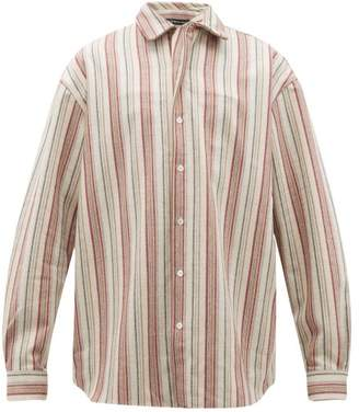 Y/Project Twisted-placket Striped Wool-blend Twill Shirt - Mens - Beige Stripe
