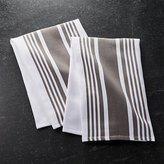 Crate & Barrel Cuisine Stripe Grey Dish Towels, Set of 2
