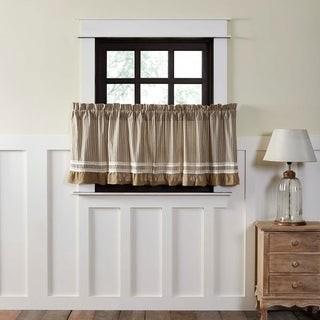 VHC Brands Farmhouse Kitchen Curtains VHC Kendra Stripe Tier Pair Rod Pocket Cotton Striped Lace Cotton Burlap