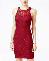 Sequin Hearts Juniors' Sequin Lace Lattice-Back Bodycon Dress