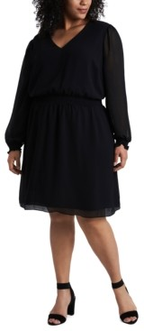 1 STATE Trendy Plus Size Smocked Fit & Flare Dress