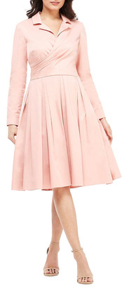 Gal Meets Glam Long-Sleeve Stretch-Cotton Fit-and-Flare Dress with Back Bow