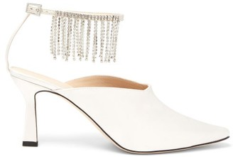 Wandler Lottie Crystal-fringed Satin Mules - Pearl