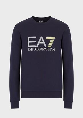 Ea7 Round-Neck Sweatshirt With Metallic Maxi Logo