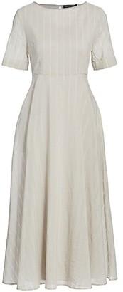 Fabiana Filippi Stripe Embellished Neck Midi Dress