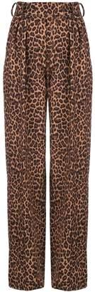 Sara Battaglia leopard wide-leg trousers