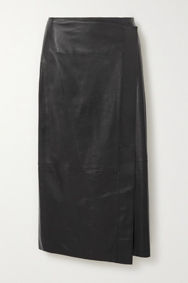 Vince Wrap-effect Leather Midi Skirt - Black