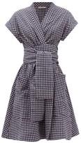 Three Graces London Aurora Gingham Wrap Dress - Womens - Navy Print
