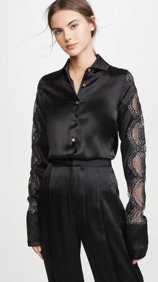 ANAÏS JOURDEN Black Silk Satin Shirt