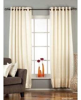 Indian Selections Cream Ring / Grommet Top 90% blackout Curtain / Drape / Panel - Piece