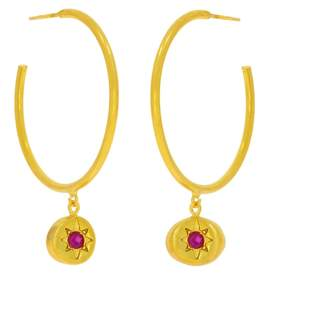 Ottoman Hands Vega Gold Star Hoop Earrings With Pink Crystals