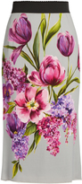 Dolce & Gabbana Floral-print cady midi skirt