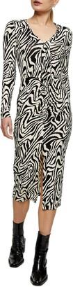 Topshop Twist Tie Long Sleeve Midi Dress
