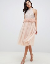 Asos Design DESIGN Embellished Sequin Tulle Midi Dress with Faux Feather Trim