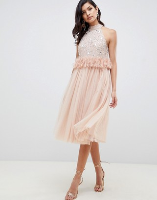 ASOS DESIGN Embellished Sequin Tulle Midi Dress with Faux Feather Trim