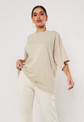 Missguided Sand Drop Shoulder Oversized T Shirt
