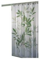 InterDesign Leaves Fabric Shower Curtain, Green/White