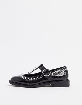 Asos DESIGN Mercy studded flat shoes in black