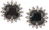 Carolee Hematite-Tone Black Stone and Crystal Stud Earrings