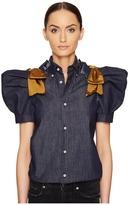 DSQUARED2 Dark Wash Puff Short Sleeves Denim Shirt Women's Clothing
